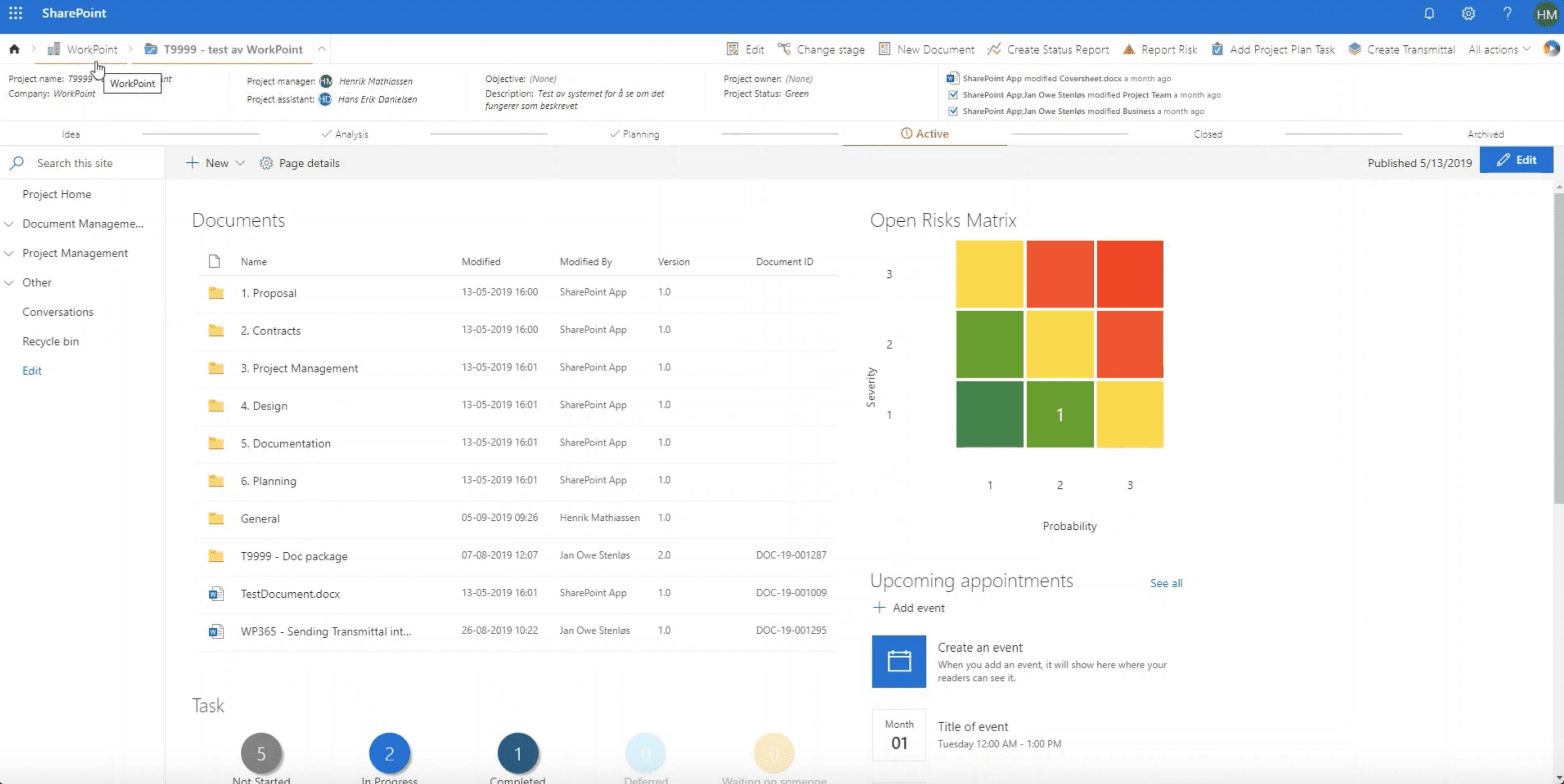 SharePoint løsning til projektstyring